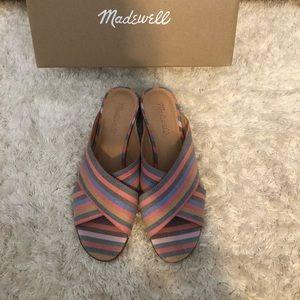 Madewell Ruthie Crisscross Mules in Rainbow Stripe